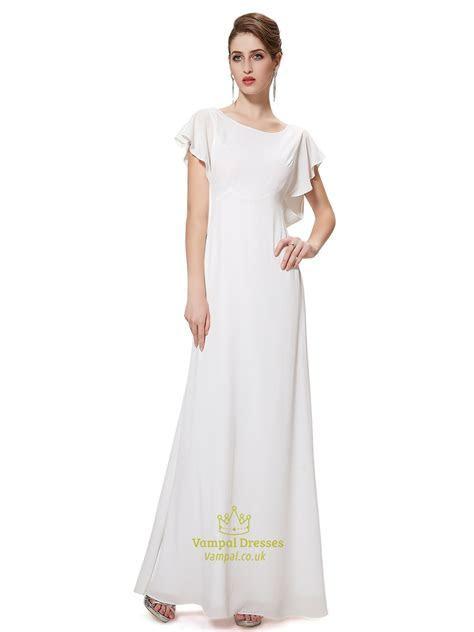Ivory Chiffon Sheer Back Long Bridesmaid Dress With