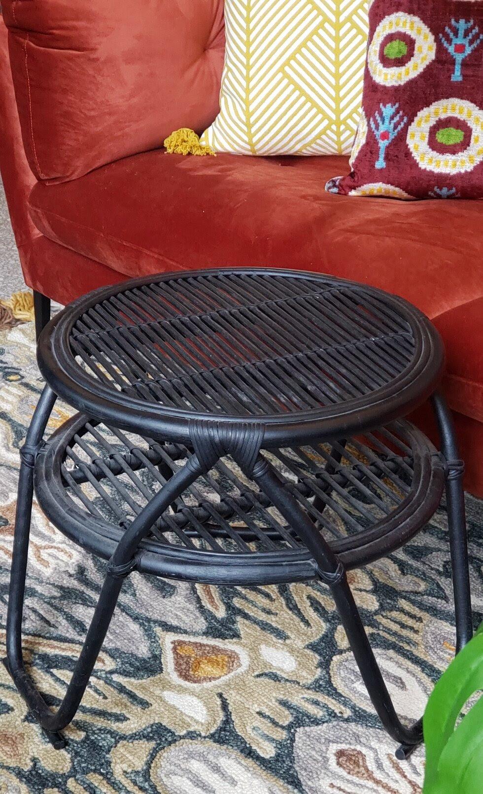 Round Black Rattan Coffee Table Retrofit Home