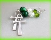 Green Ankh Dangle Earrings