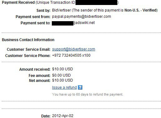 bidvertiser payment proof