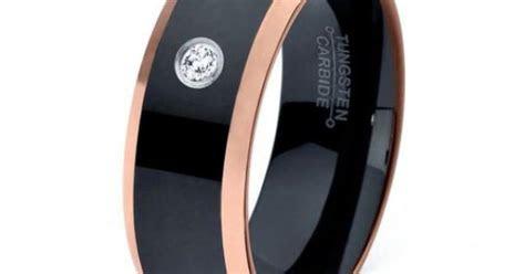 Black Tungsten Ring, 18k Rose Gold Black Band, Black