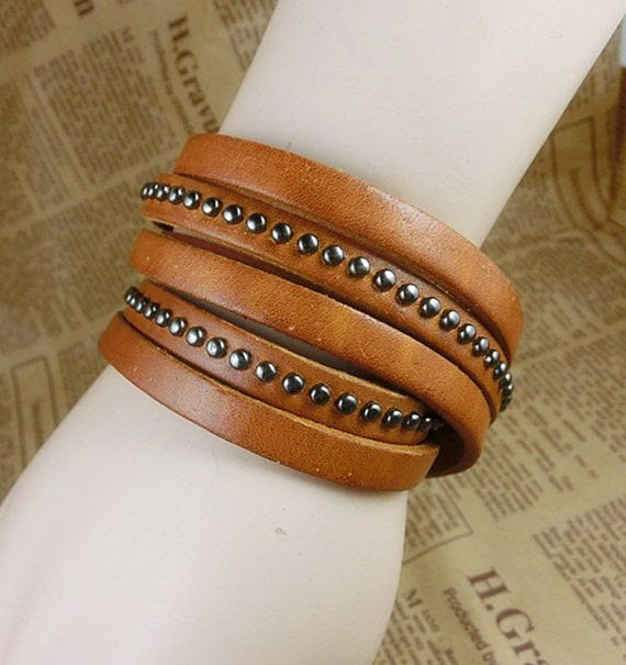 2014 New Brown Black Soft Leather Women Leather Bracelet with Alloy Buckle Men Leather Cuff Bracelet Unisex Rivet Bracelet by MayoyaRomanticManor, $7.99