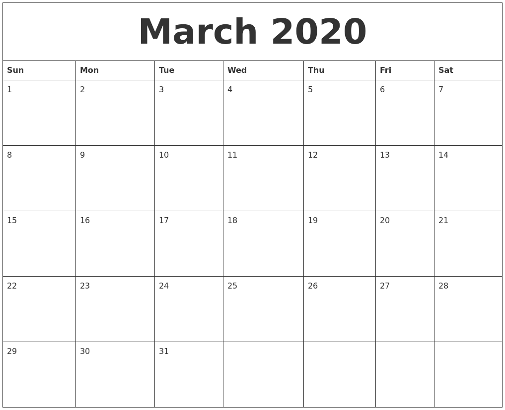 march 2020 blank printable calendars