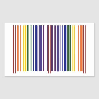 Double Rainbow Barcode Rectangular Stickers