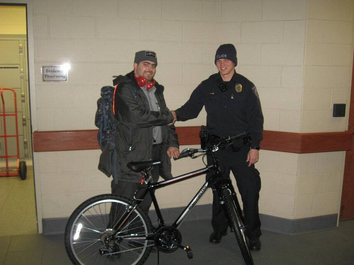 Image result for Fairview Heights IL donate bicycle to security officer