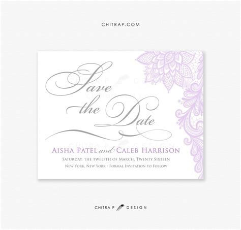 Purple Silver Save the Date Cards   Printed, Lace Grey