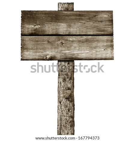 photo sign a  on with post sign  white a wooden stock  post rustic isolated background