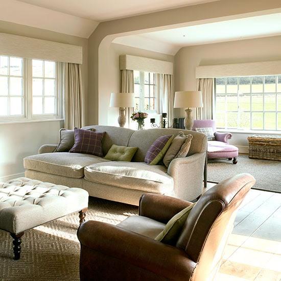 Cream and leather living room | housetohome.co.uk