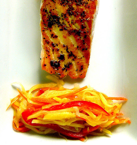 grilled salmon with  green mango achara