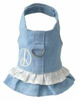 Doggles DOHADHSM-04 Harness Dress - Hemp Small Blue with Peace