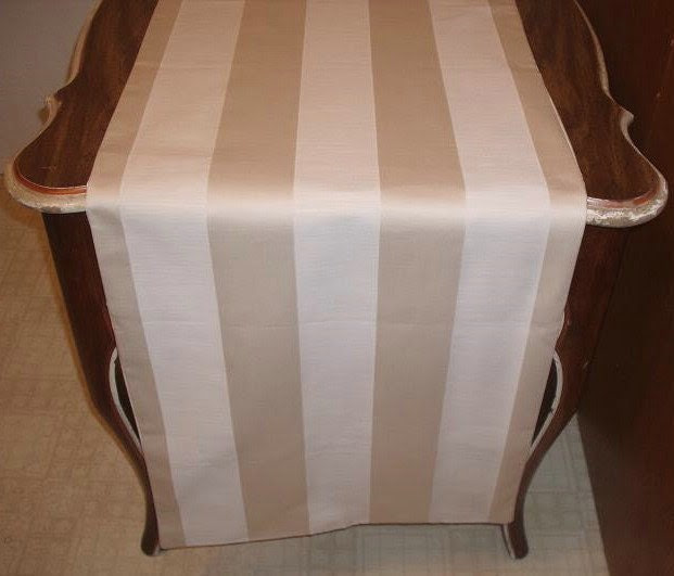 Linen Tan and White Striped Extra Wide Table Runner