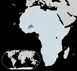Location of Burkina Faso(dark blue)–in Africa(light blue &dark grey)–in the African Union(light blue) — [Legend]