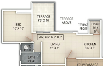 1 BHK Flat - 364 Carpet + Terrace - B Building - Windsor County Ambegaon Budurk Pune 411046