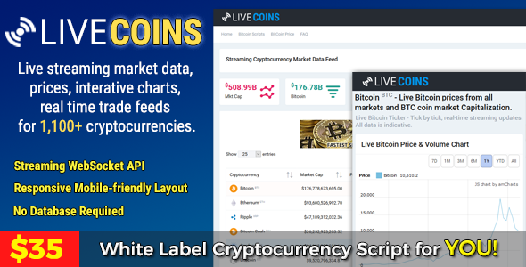 LiveCoins v2.2.3 - Real time Cryptocurrency Prices, Market Cap, Charts & More + FREE Wordpress Plugin