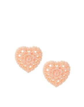 Image 1 of ASOS Pretty Cutout Heart Stud Earrings