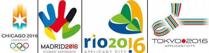 The logos of all the cities bidding on the 2016 Olympic Games.