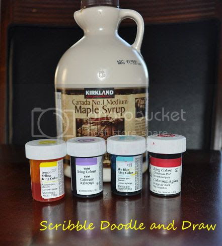 ingredients to make edible paint, syrup and food coloring