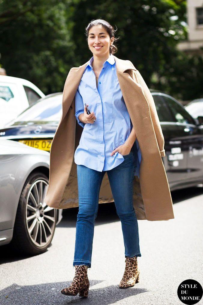 Le Fashion Blog Caroline Issa Street Style Camel Coat Blue Button Down Raw Hem Jeans Leopard Ankle Boots Via Style Du Monde