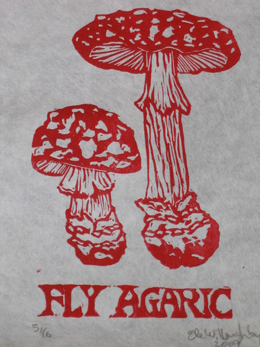Fly Agaric lino block print