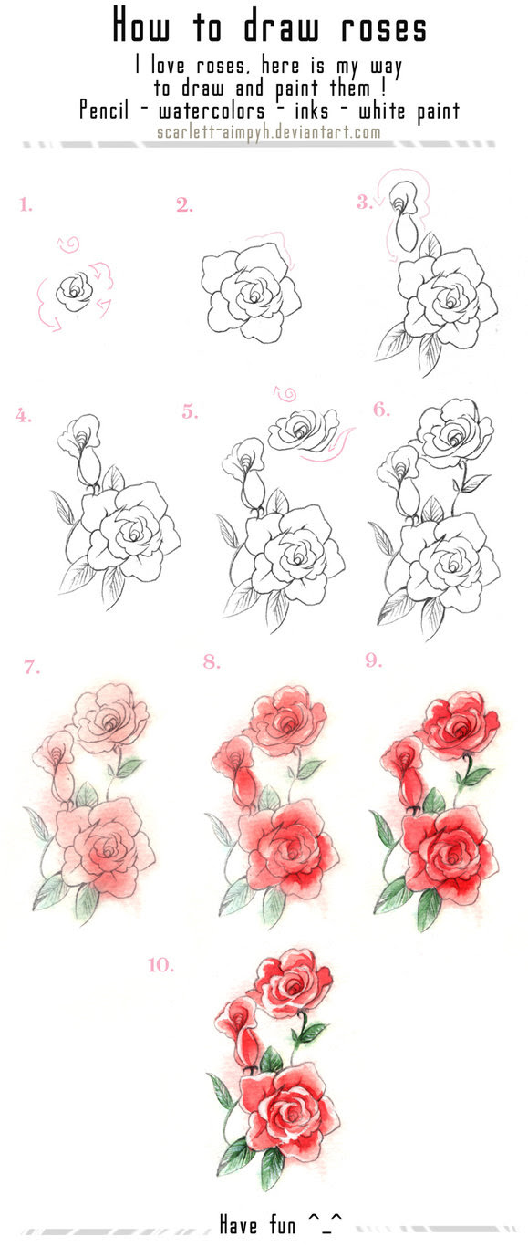 Easy Way To Draw A Rose Flower
