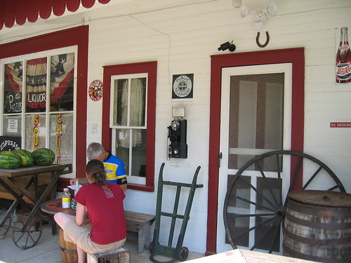 Fitz and Rebecca eating lunch outside the Old Mission Store