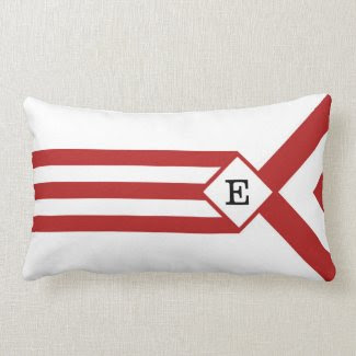 Red Stripes and Chevrons with Monogram on White Pillows