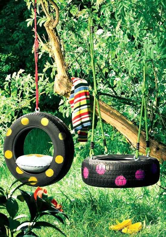 Garden Ideas with old car tire tree swing kids
