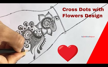 Cross Dots with Flower Mehndi Design