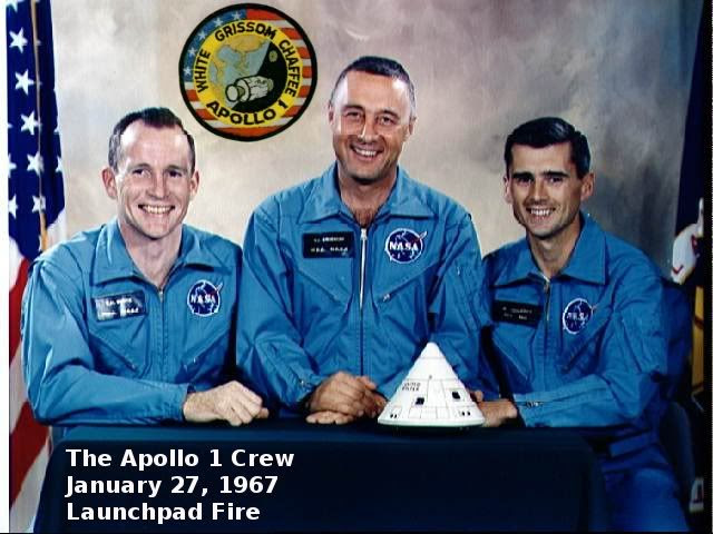 The heroes of Apollo 1 who were killed in a fire on the launchpad during a test  Edward White, Command Pilot Virgil Gus Grissom, Commander Roger Chaffee, Pilot