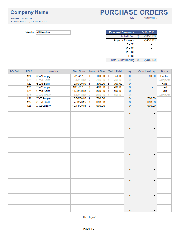purchase order tracker