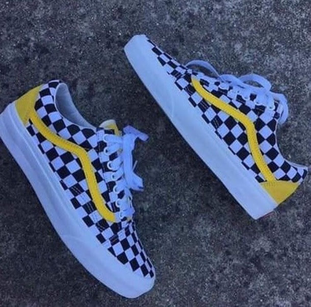 Shoes Checkered Vans Yellow Detailing Yellow Checkered Shoes