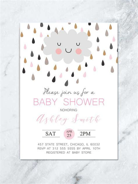 Cloud and Raindrops Personalized Baby Shower Invitation