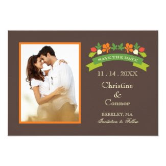 Fall Leaves Photo Save The Date Card Invitation
