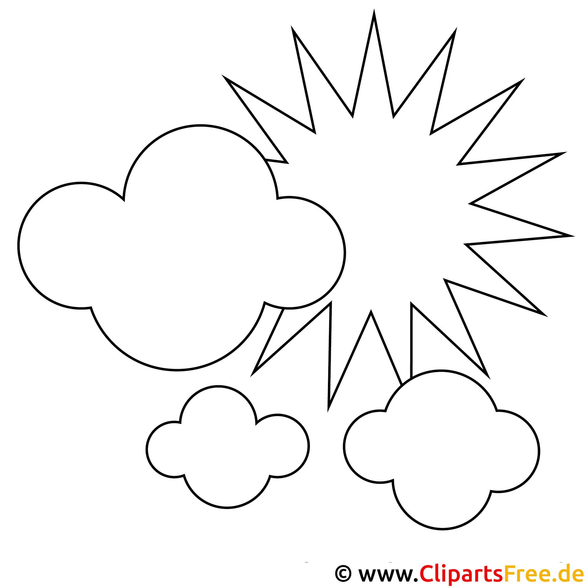 ausmalbild sonne und wolken im himmel