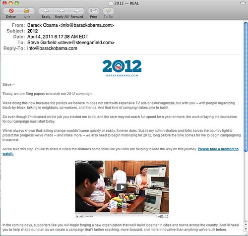 Obama 2012 Campaign Kickoff Email