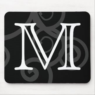 Your Letter. Custom Black / White Swirl Monogram. Mousepads