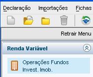IRPF - Menu - Renda Variável - Operações Fundos Invest. Imob.