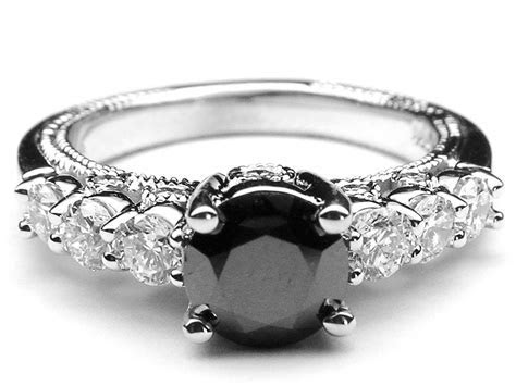 round black diamond engagement rings
