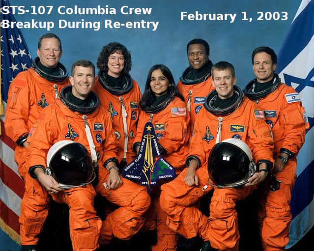 The Crew of the Columbia  Seated in front are astronauts Rick D. Husband on the left, mission commander, Kalpana Chawla, mission specialist, and William C. McCool, pilot. Standing are, from the left, astronauts David M. Brown, Laurel B. Clark, and Michael P. Anderson, all mission specialists, and Ilan Ramon, payload specialist representing the Israeli Space Agency.