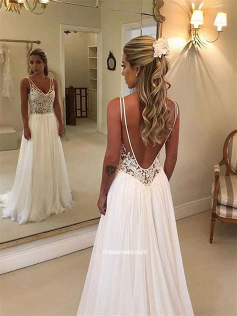 Simple A Line V Neck Open Back White Lace Long Wedding