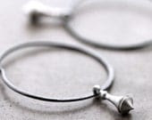 Hoop Earrings, Silver Pendulum Oxidized Sterling Silver Hoops - Clockwork - GlitzGlitter