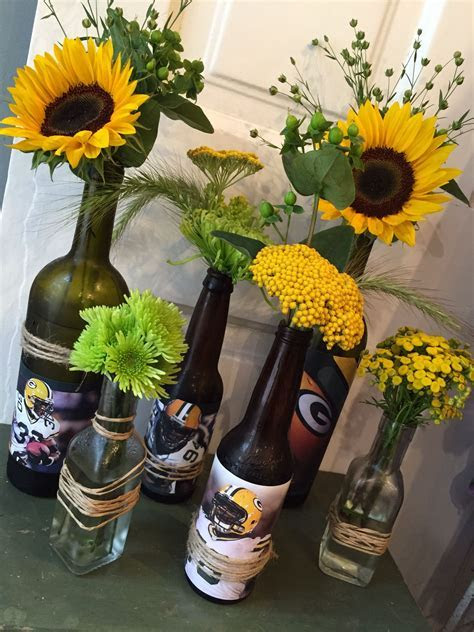 Packer football centerpiece in upcycled beer and wine