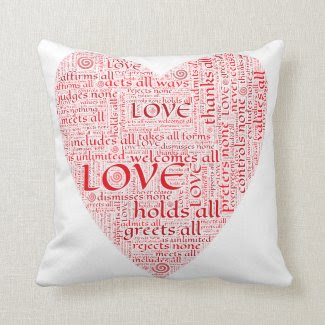 Word Art Heart Throw Pillows