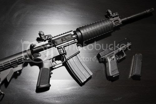 AR-15 rifle and Glock handgun