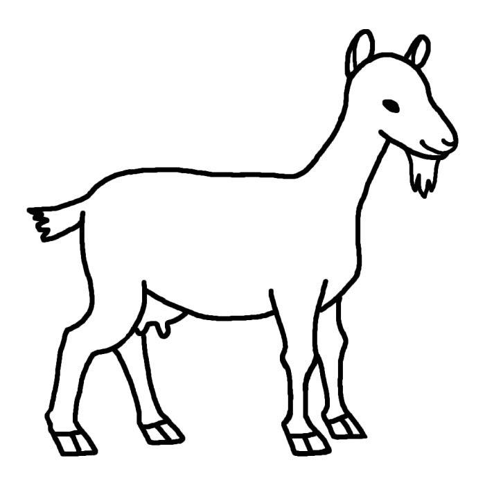 ヤギ山羊1白黒陸の大きな動物無料イラスト素材