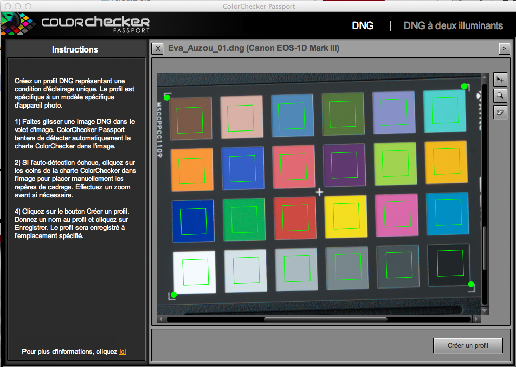 Le logiciel cible la charte de couleur qui  crée un profil comportant un « Delta d'erreur  » correctif.