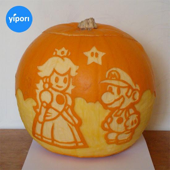 Nintendo pumpkin, Super Mario and Princess Peach