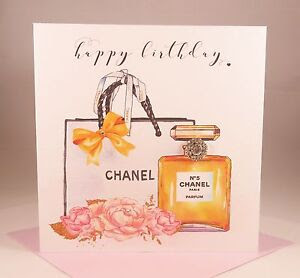 Luxury Ladies CHANEL No.5 PERFUME Birthday Card Wife Girlfriend Mother Daughter  eBay