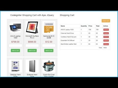 Ajax Jquery Shopping cart by using Codeigniter Cart Library