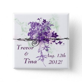 Save The Date Abstract Floral Bouquet Square Pin button